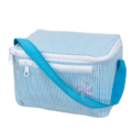 $22.00 Aqua Seersucker Lunch Box
