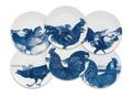 Caskata Roosters - Blue Canapes Mixed Boxed Set/6