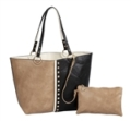 72 Colorblock Reversible Tote-Khaki/Creme/Black