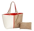 96 Colorblock Reversible Tote-Creme/Orange/Khaki