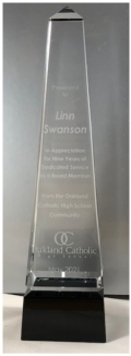 """Contemporary Concepts Exclusives Personalized Gifts 10"""" Obelisk Crystal on Black Pedestal Base - Custom Engraved"""