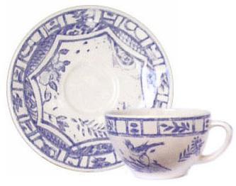 Gien Oiseau Blue & White Tea Saucer