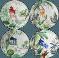 Gien Jardins Extraordinaires Dessert Plate - Set of 4 Assorted