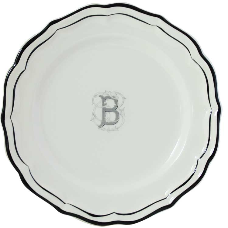 Gien Filet Midnight/Manganese Monogram Dinner Plate
