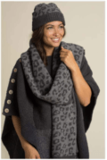 82.95 CozyChic Barefoot in The Wild Beanie and  Scarf Set in Graphite & Carbon