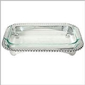 Mariposa String of Pearls Pearled Oblong Cass Caddy/Pyrex 3QT