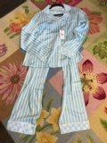 104 PJ Salvage Stripe PJ Set - Light Blue