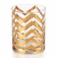 Zodax Seraphina Golden Thick Chevron Double Old Fashioned Glasses