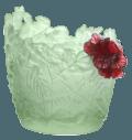 $9,100.00 Medium light green & red hibiscus vase