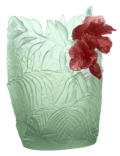 $26,000.00 Large light green & red hibiscus oval vase