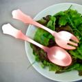 Sabre Old Fashioned Salad Servers - Baby Pink