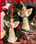 24 Birch Tree Angels Holding Cardinals Ornaments, Set of 2