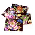 MacKenzie-Childs Flower Market Tabletop Placemats - Black - Set of 4