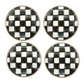MacKenzie-Childs Courtly Check Tabletop Enamel Canape Plates - Set Of 4