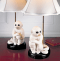 Mottahedeh Figure Small White Monkey Lamp, Pair