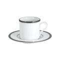 Pickard China Signature White China Body Platinum With No Monogram Espresso Cup & Saucer