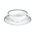 Pickard China Signature White China Body Platinum With No Monogram Cream Soup & Liner