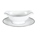 Pickard China Signature White China Body Platinum With No Monogram Gravy Boat