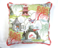 """270 Neo Toile Coral w/Cupcake Flange 22"""" Sq. Pillow"""