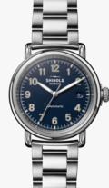 Shinola Runwell Automatic 39.5 mm Midnight Blue Dial / Silver Bracelet