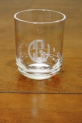 $43.00 acrylic 14 oz glass set/4 engraved