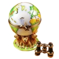 369 GLOBE WITH LIONS AND REMOVABLE BINOCULARS