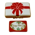 Rochard Limoges Christmas Gift Box With Red Bow - Happy Holidays