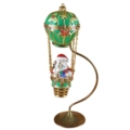 Rochard Limoges Christmas Santa In Balloon With Brass Stand