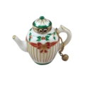 Rochard Limoges Christmas CHRISTMAS TEAPOT WITH BRASS TEABALL