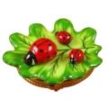 Rochard Limoges Garden Green Leaf With Three Ladybugs