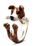 $360.00 ENAMEL HUG RING - AMERICAN STAFFORDSHIRE