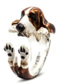 $360.00 ENAMEL HUG RING - BASSET HOUND