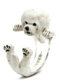 $260.00 ENAMEL HUG RING - BICHON FRISE'