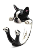 $360.00 ENAMEL HUG RING - BOSTON TERRIER