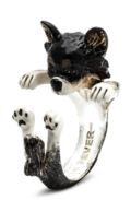 $260.00 ENAMEL HUG RING - LONG HAIRED CHIHUAHUA