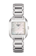 $237.50 T-Wave Women's Quartz Watch White Mother of Pearl & Diamonds Dial Square Watch With Stainless Steel Bracelet