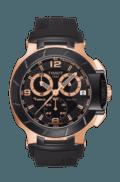 $750.00 T-Race Men's Quartz Chronograph Rose Gold PVD & Black Case Watch With Black Rubber Strap