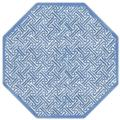52.5 Blue & White Fretwork Octagonal Placemats, Set of 4