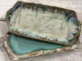 $114.50 Tray with Handles Rectangle - Opal Blue