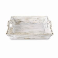 Mudpie Tray Wood White Beaded