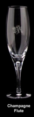 $90.00 Aspen Champagne Flute WITH MONOGRAM