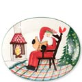Large Oval Platter with Santa Reading