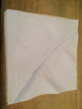 William-Wayne & Co. Exclusives Pale Blue Linen, Hand Crocheted Edge Napkin