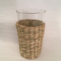 William-Wayne & Co. Exclusives Clear Glass with Rattan Holder