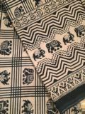 47.5 Indian Throw/Tablecloth Elephant Black and White