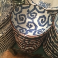 William-Wayne & Co. Exclusives Small Geometric Blue and White Bowl