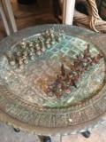 William-Wayne & Co. Exclusives Turkish Brass Chess Tray Wooden Folding Base with Chess Set